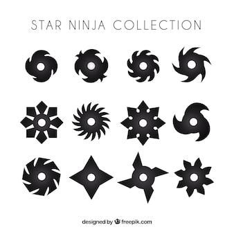Conjunto tradicional de estrellas ninja con diseño plano