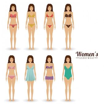 Conjunto de traje de baño de mujer, ilustración vectorial