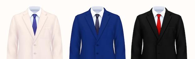 Conjunto de traje de hombre de color de tres imágenes realistas de disfraces masculinos inteligentes partes superiores con ilustración de chaquetas