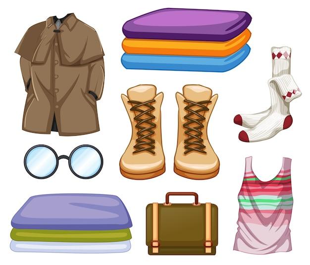 Conjunto de trajes y accesorios de moda sobre fondo blanco.