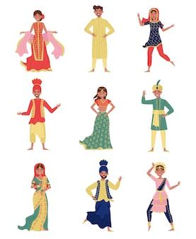 Conjunto de trajes y hombres jóvenes indios en trajes nacionales, personas en ropa tradicional oriental ilustración sobre un fondo blanco