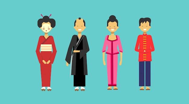 Conjunto de trajes tradicionales asiáticos gente con kimono chino