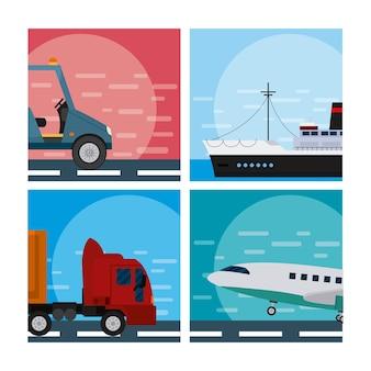 Conjunto de tranport vehículos colección vector ilustración diseño gráfico