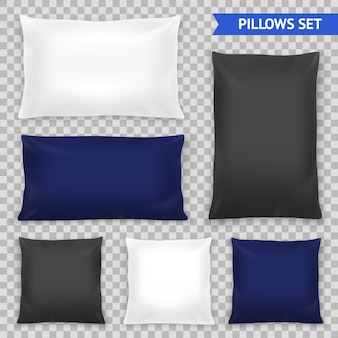Conjunto transparente de almohadas realistas