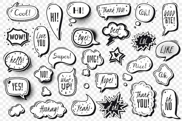 Conjunto transparente de burbujas de discurso de cómics