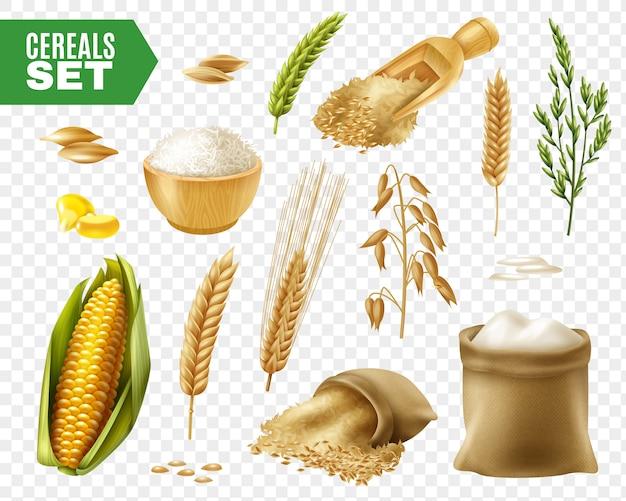 Conjunto transparente de cereales