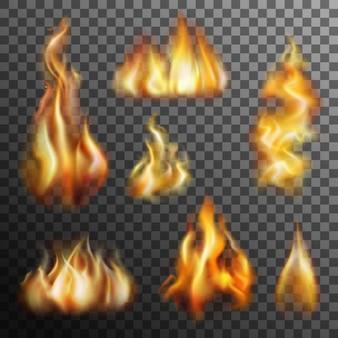Conjunto transparente de fuego