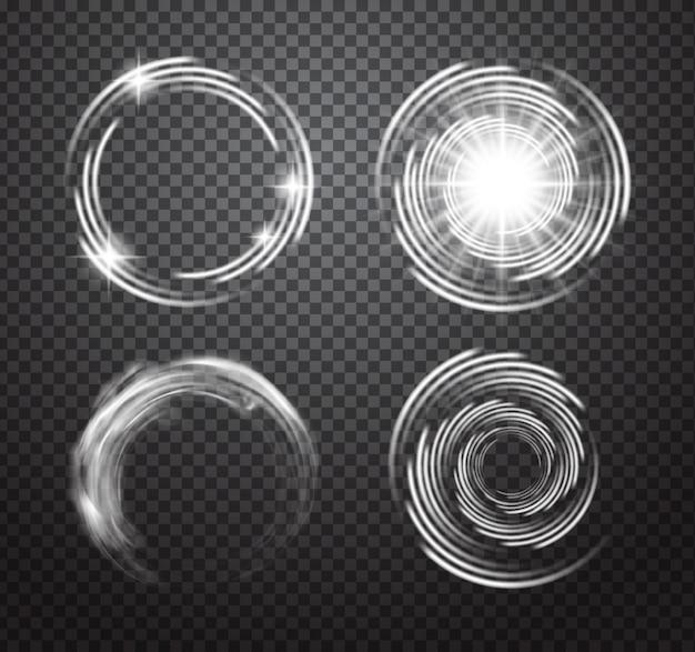 Conjunto transparente de efectos de luz brillantes aislados