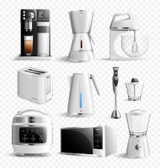 Conjunto transparente de electrodomésticos de cocina blanca