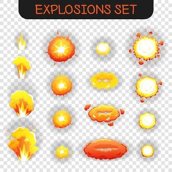 Conjunto transparente de explosión de dibujos animados