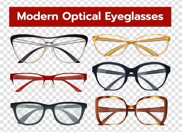 Conjunto transparente de gafas