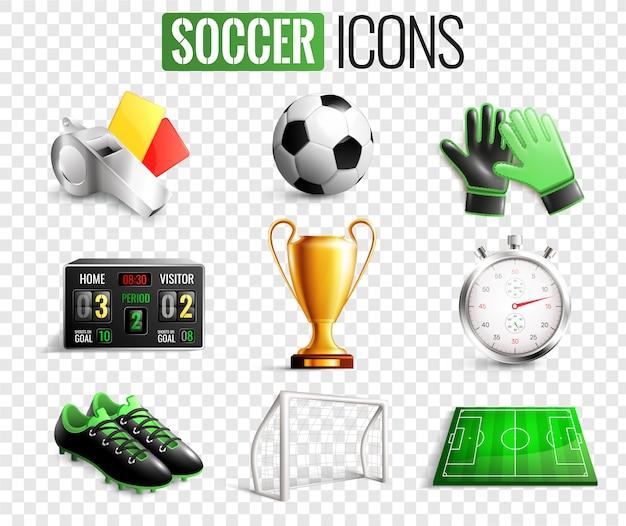 Conjunto transparente de iconos de fútbol
