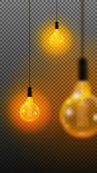 Conjunto transparente realista y coloreado de bombillas incandescentes vintage con lámparas incluidas en la ilustración de estilo loft