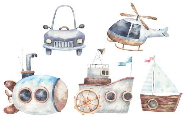 Conjunto de transporte, buque, nave, máquina, submarino, helicóptero