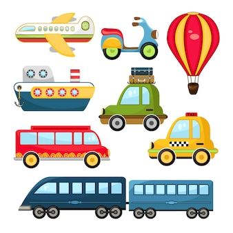 Conjunto de transporte de dibujos animados lindo vector ilustración