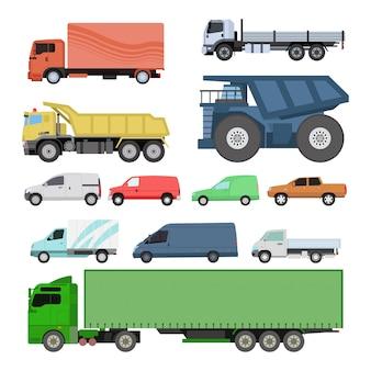 Conjunto de transporte de diferentes coches.