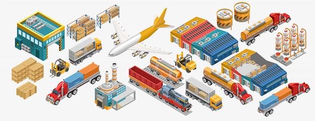Conjunto de transporte de mercancías e instalaciones industriales.