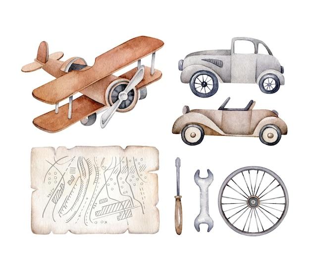 Conjunto de transporte retro coche de época, avión, mapa, rueda, herramientas