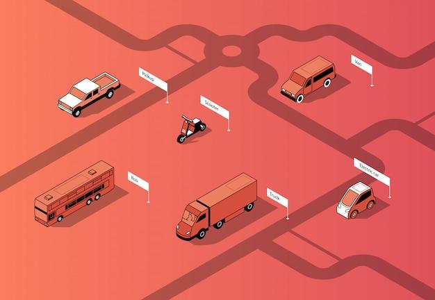 Conjunto de transporte urbano isométrico, automóviles.