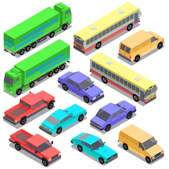 Conjunto de transporte urbano isométrico, coches