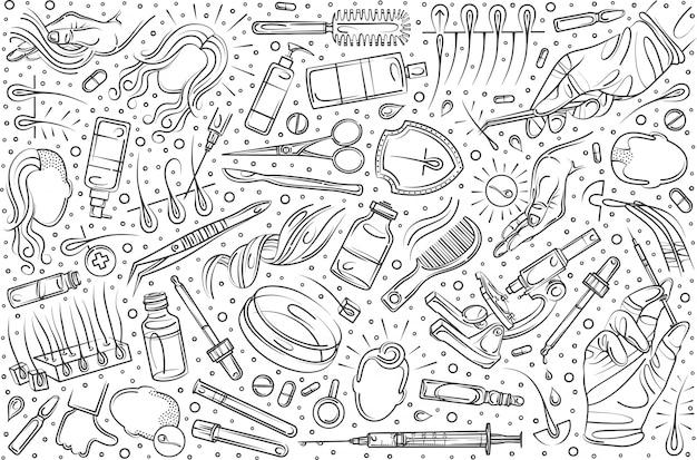 Conjunto de trasplante de cabello dibujado a mano doodle fondo