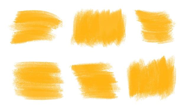 Conjunto de trazo de pincel acuarela naranja abstracto