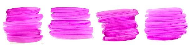 Conjunto de trazo de pincel acuarela pintado a mano rosa abstracto