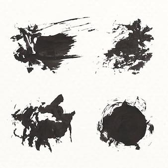 Conjunto de trazo de pincel negro abstracto