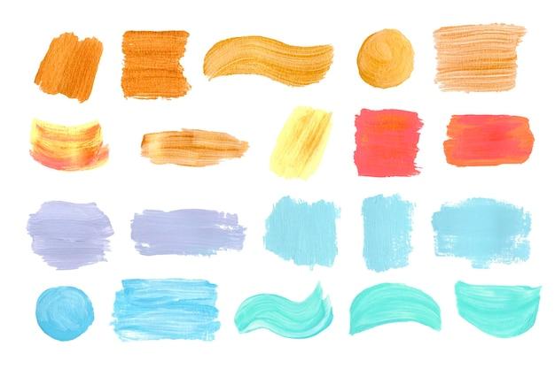 Conjunto de trazos de pincel acrílico pintado a mano