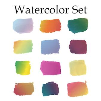 Conjunto de trazos de pincel acuarela degradado, aislado sobre fondo blanco. conjunto de pintura de acuarela arco iris mixta. ilustración vectorial