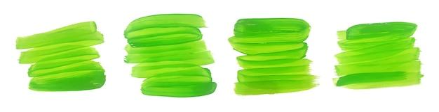 Conjunto de trazos de pincel acuarela verde pintado a mano