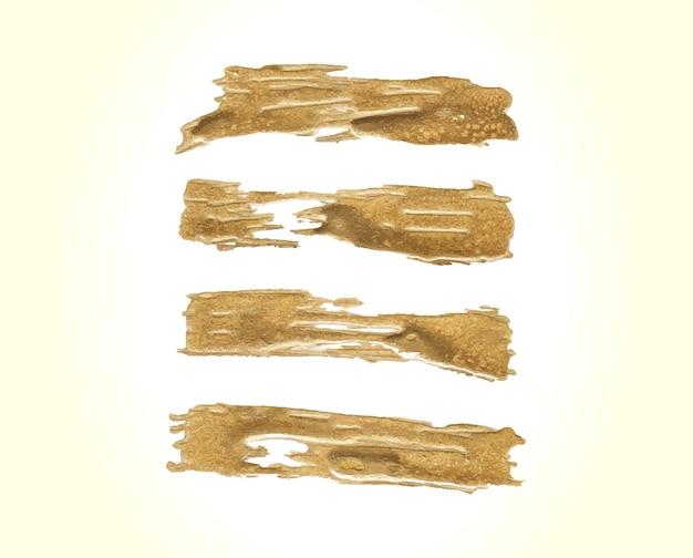 Conjunto de trazos de pincel dorado
