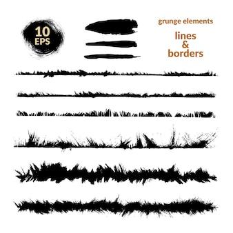 Conjunto de trazos de pincel. grunge fronteras y divisores.