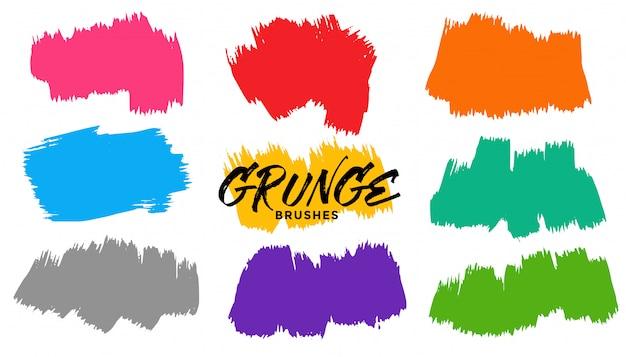 Conjunto de trazos de pincel grunge de nueve