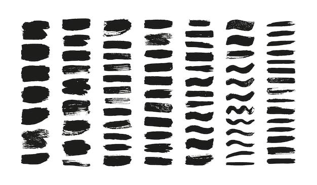 Conjunto de trazos de pincel, líneas de pinceles de tinta grunge
