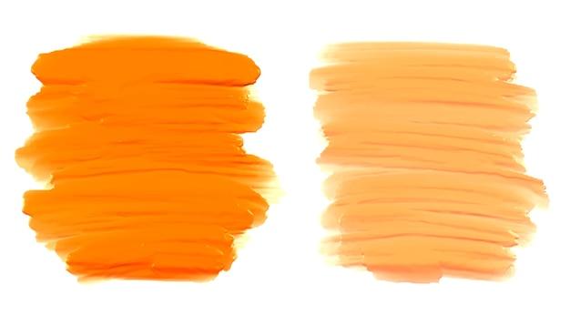 Conjunto de trazos de pincel naranja abstracto