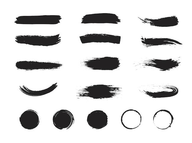 Conjunto de trazos de pincel de pintura aislado sobre fondo blanco.