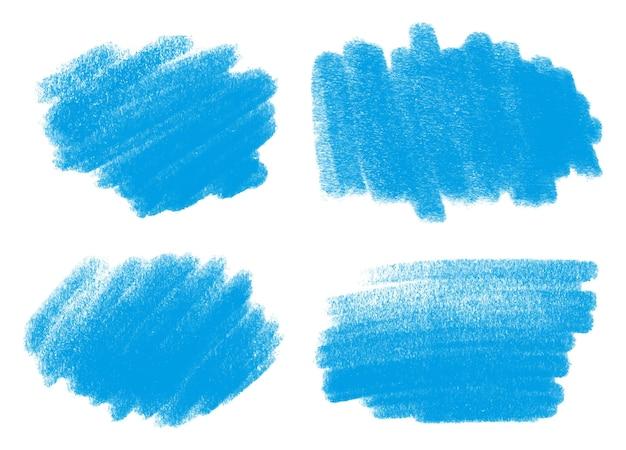 Conjunto de trazos de pincel de pintura azul