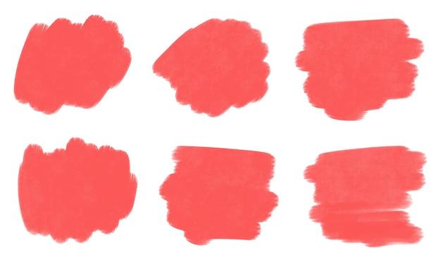Conjunto de trazos de pincel de pintura roja