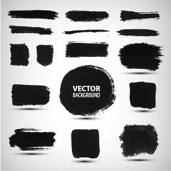 Conjunto de trazos de pincel de tinta negra