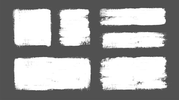 Conjunto de trazos de pincel de vector sobre fondo aislado. elementos de diseño grunge.