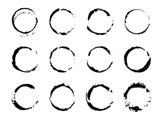Conjunto de trazos de pinceles grunge pinceladas con un pincel seco. manchas de tinta abstracta