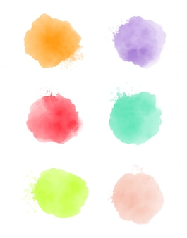 Conjunto de trazos de pintura de acuarela, color de salpicadura abstracto, vector de efecto de acuarela, textura de color naranja, verde, rosa y violeta