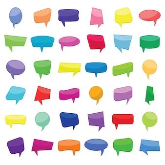 Conjunto de treinta y seis burbujas de discurso de globos de cómic coloridos dibujos animados sin frases. ilustración vectorial.