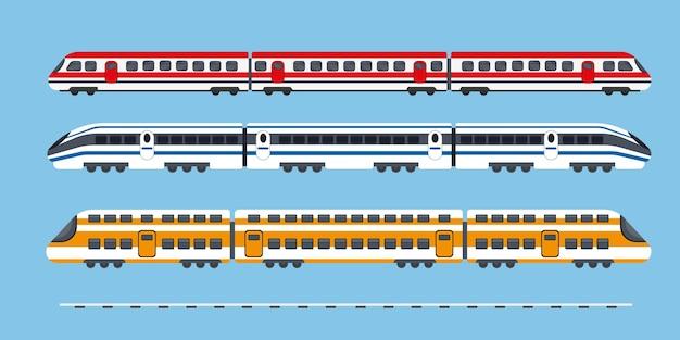 Conjunto de trenes eléctricos expresos de pasajeros. metro o transporte subterráneo.