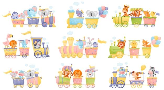 Conjunto de trenes y vagones con diferentes animales.