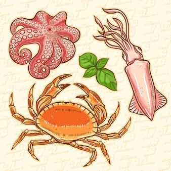 Conjunto de tres animales marinos y hojas de albahaca. calamar, cangrejo, pulpo sobre un fondo naranja
