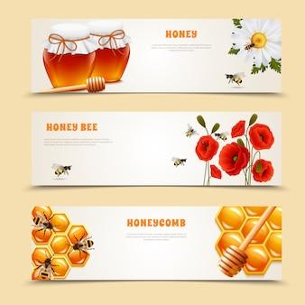 Conjunto de tres banderas de miel