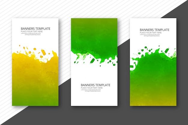 Conjunto de tres banners abstracto colorido diseño acuarela
