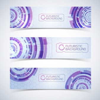 Conjunto de tres banners horizontales anchos de tecnología virtual moderna aislada con elementos de círculos futuristas detallados